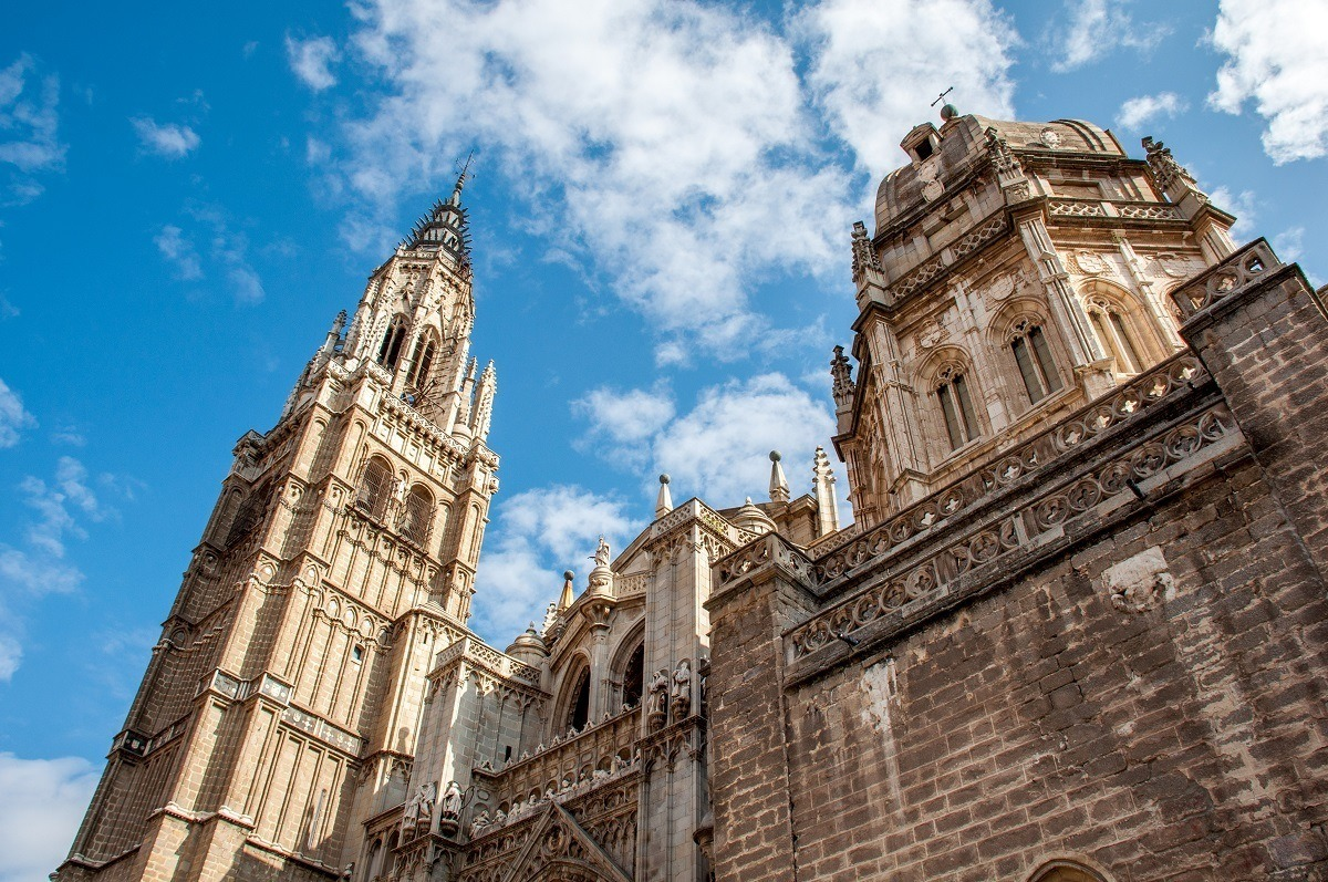 The exterior and tower of the  beautiful cathedral, one of the top Toledo attractions
