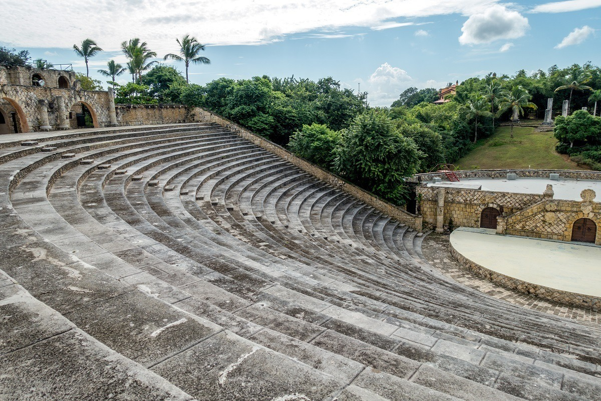 5000-seat concrete amphitheater surrounded by trees