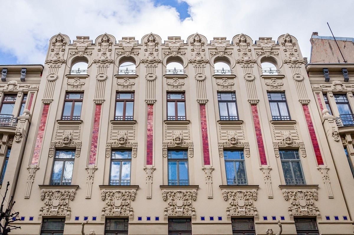 Riga's Art Nouveau building with embellishments