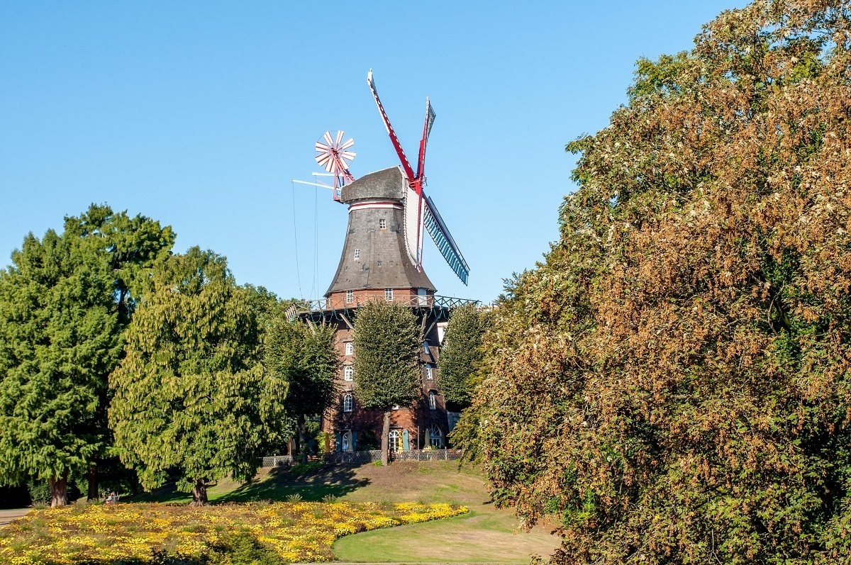 Windmill surrounded by trees