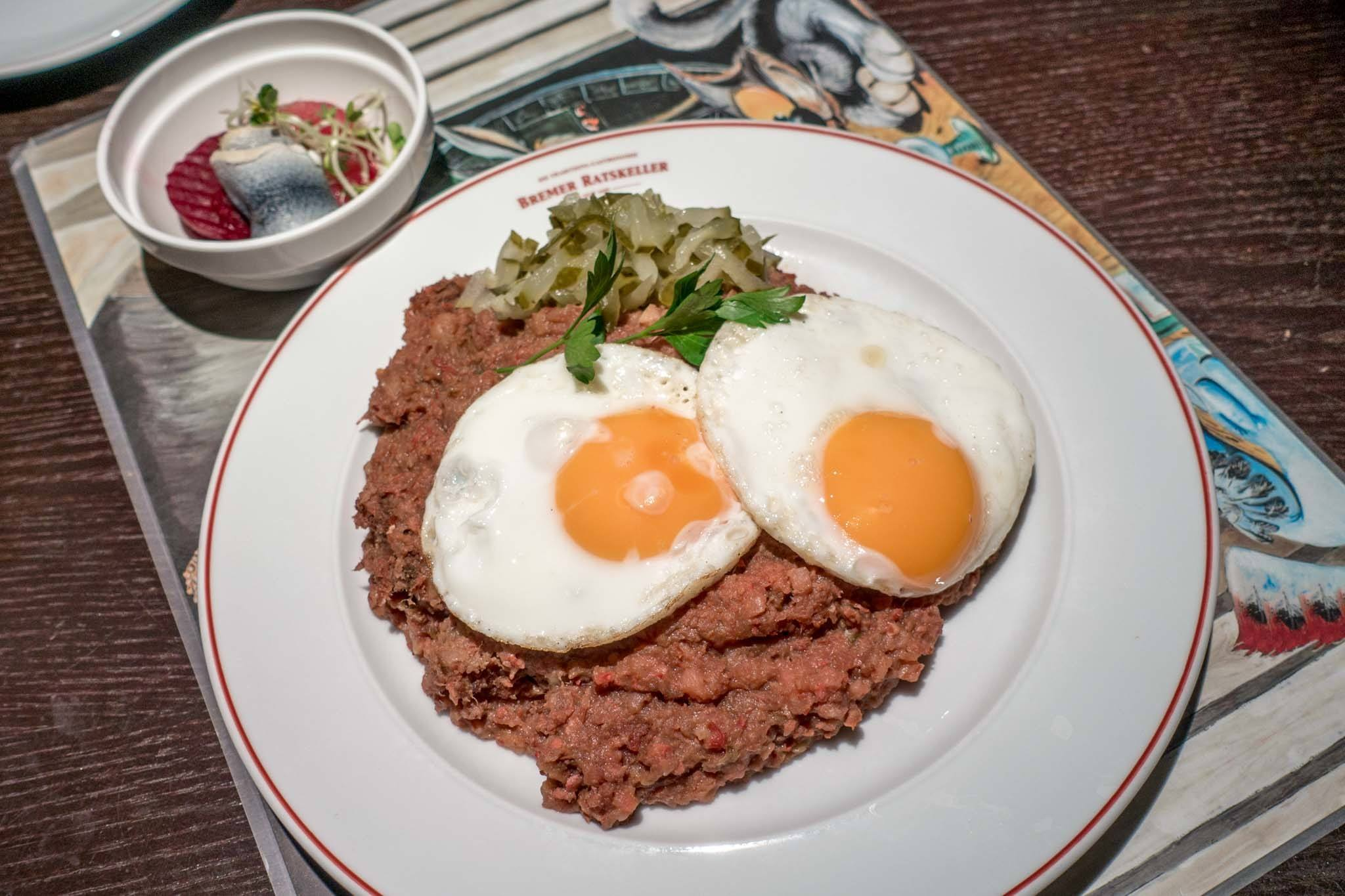 Labskaus, a traditional dish of meat topped with fried eggs