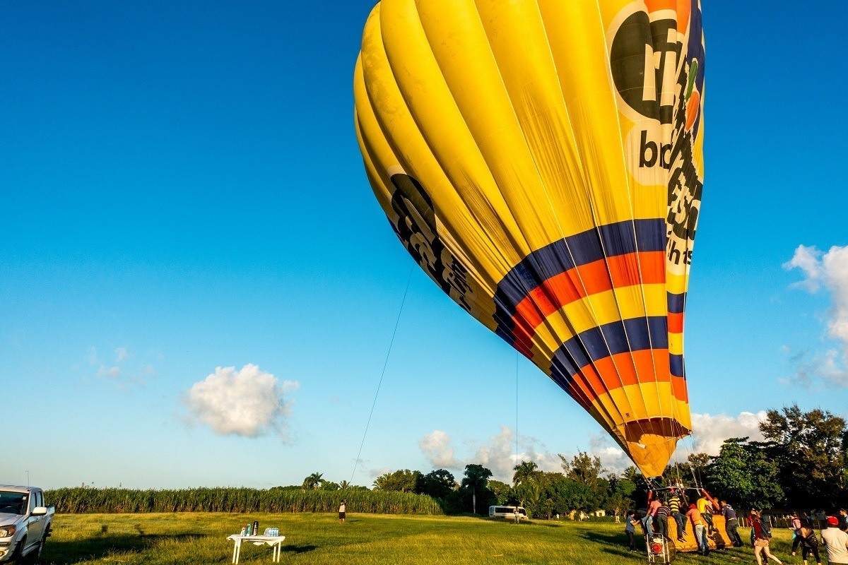 Crew inflating a hot air balloon in Punta Cana