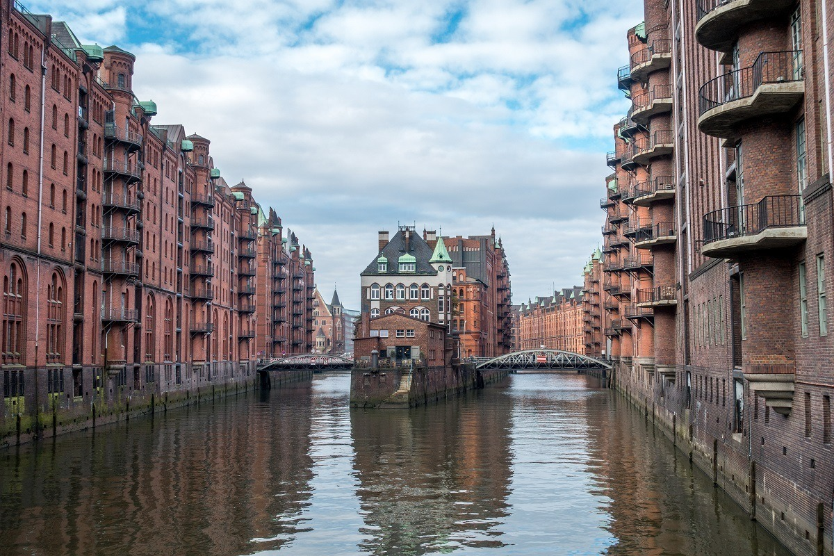 Rows of buildings and canal in The Speicherstadt warehouse district in Hamburg, Germany