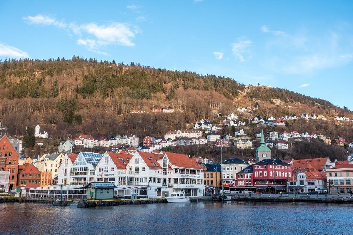 Buildings in the harbor and hillside of Bergen Norway