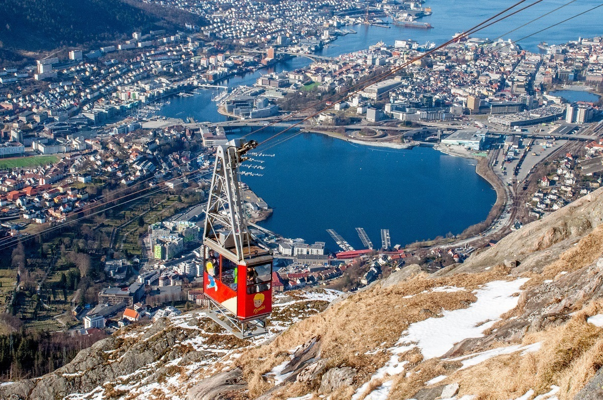 Cable car in mid-air going up a mountain