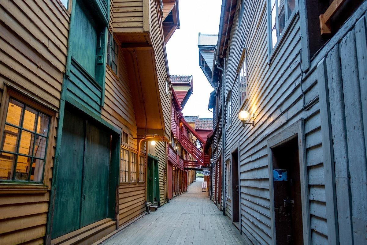 Passageway between two wooden buildings