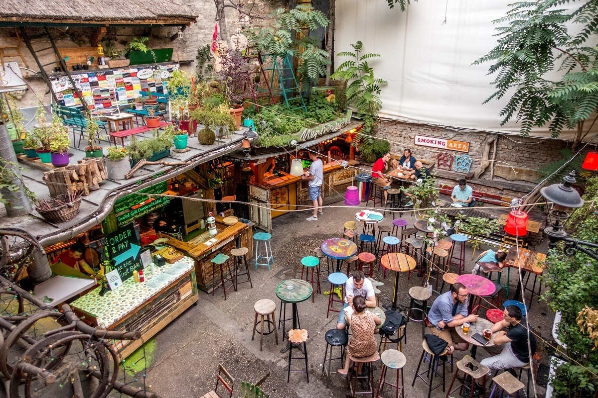 Courtyard of Szimpla kert ruin pub in Budapest