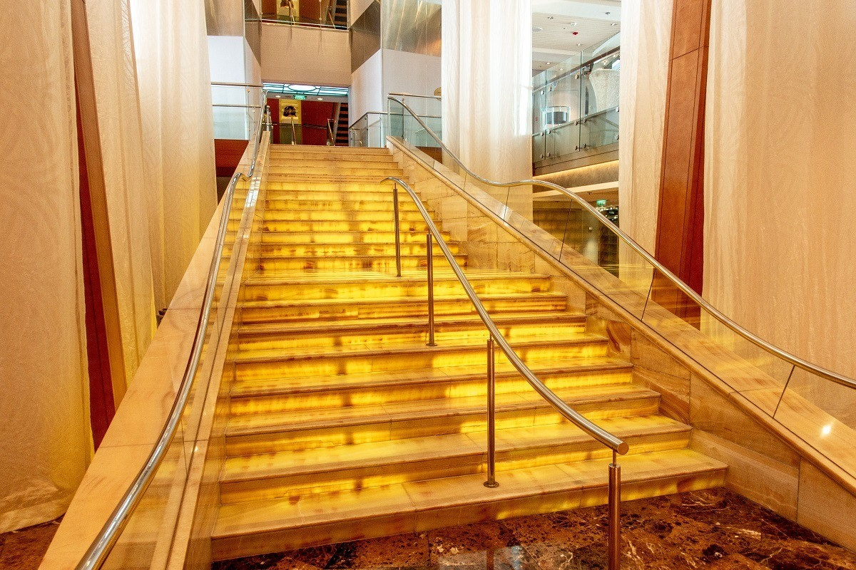 Steps in the main atrium of the Celebrity Summit cruise ship