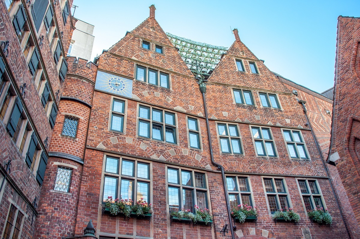 Bells strung between rooftops at The Glockenspiel House on Böttcherstrasse in Bremen