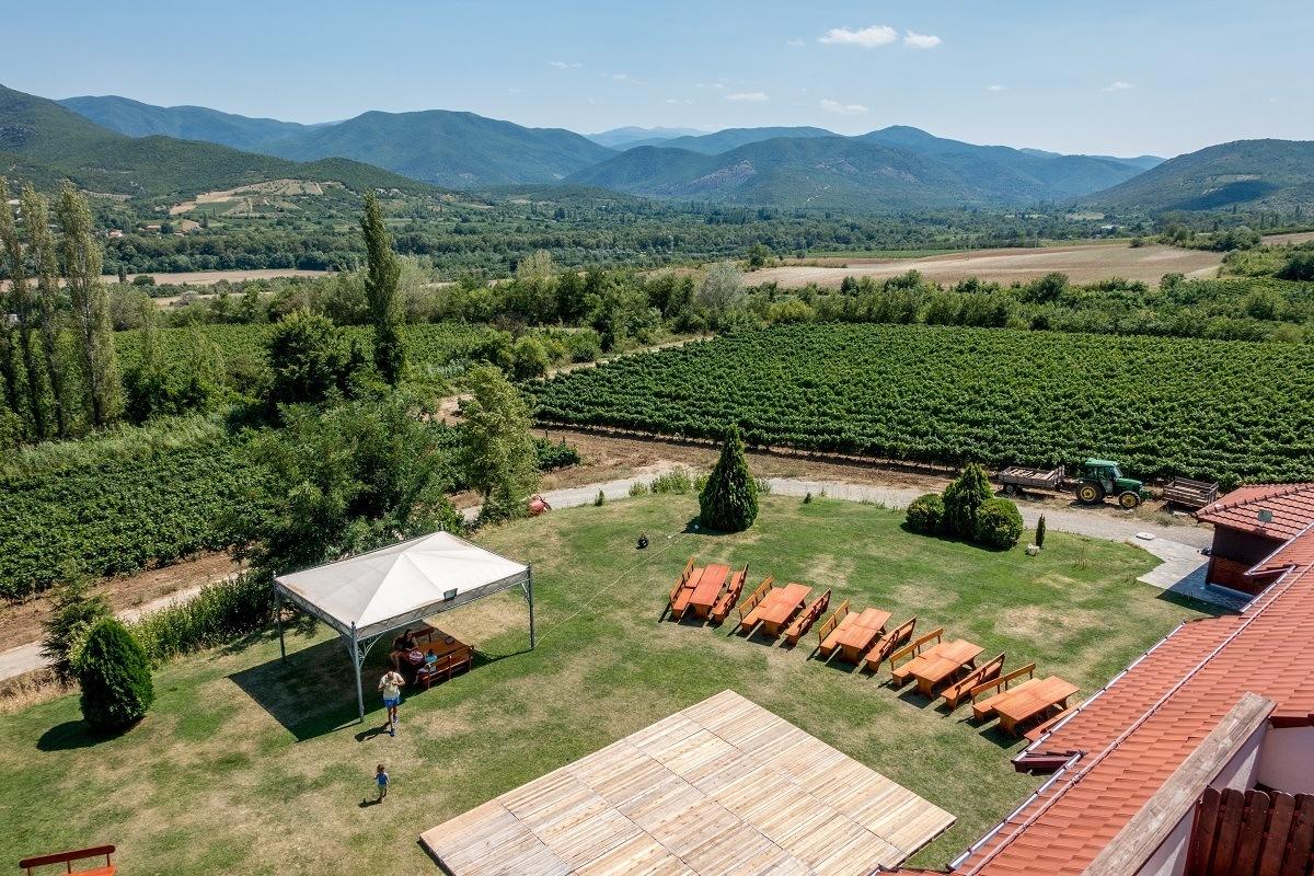 The lawn and vineyards at Popova Kula are perfect for enjoying Macedonian wines
