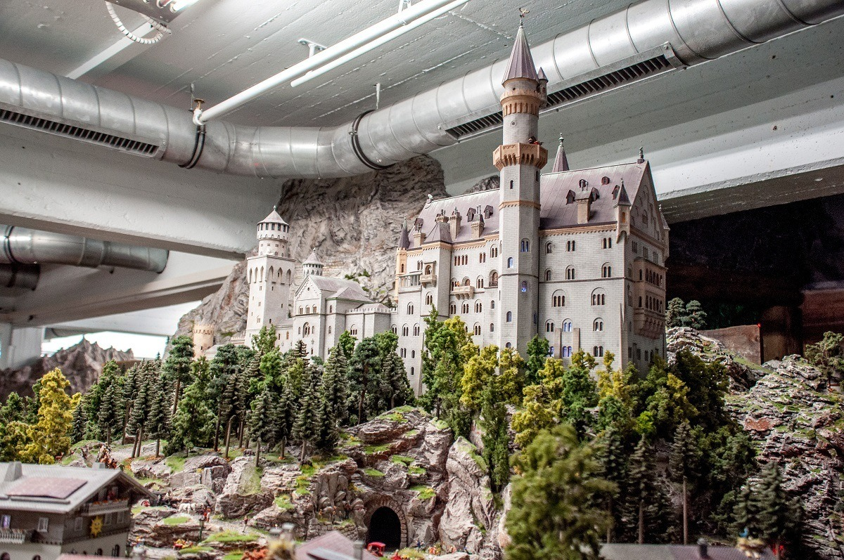 The famous Neuschwanstein Castle is re-created on a smaller scale