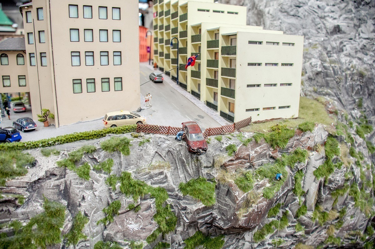 Fanciful recreations of Superman saving a car going off a cliff
