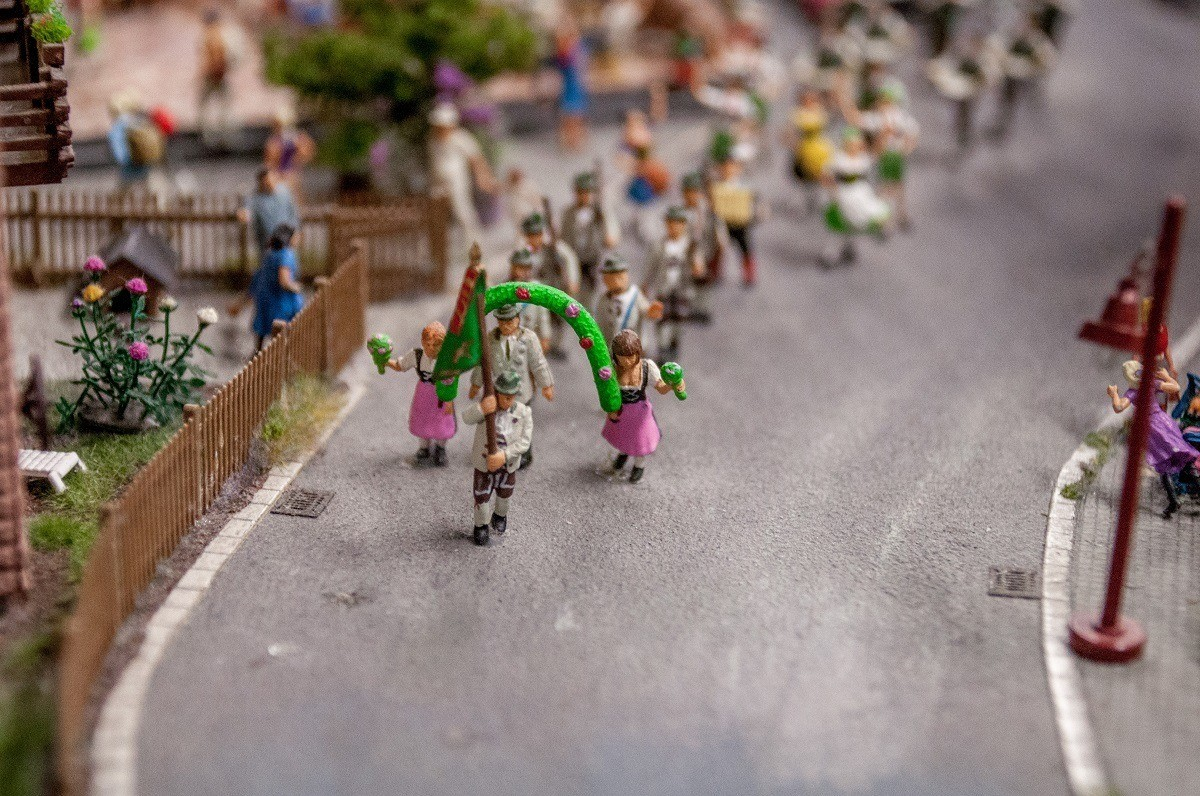 Tiny figures on parade