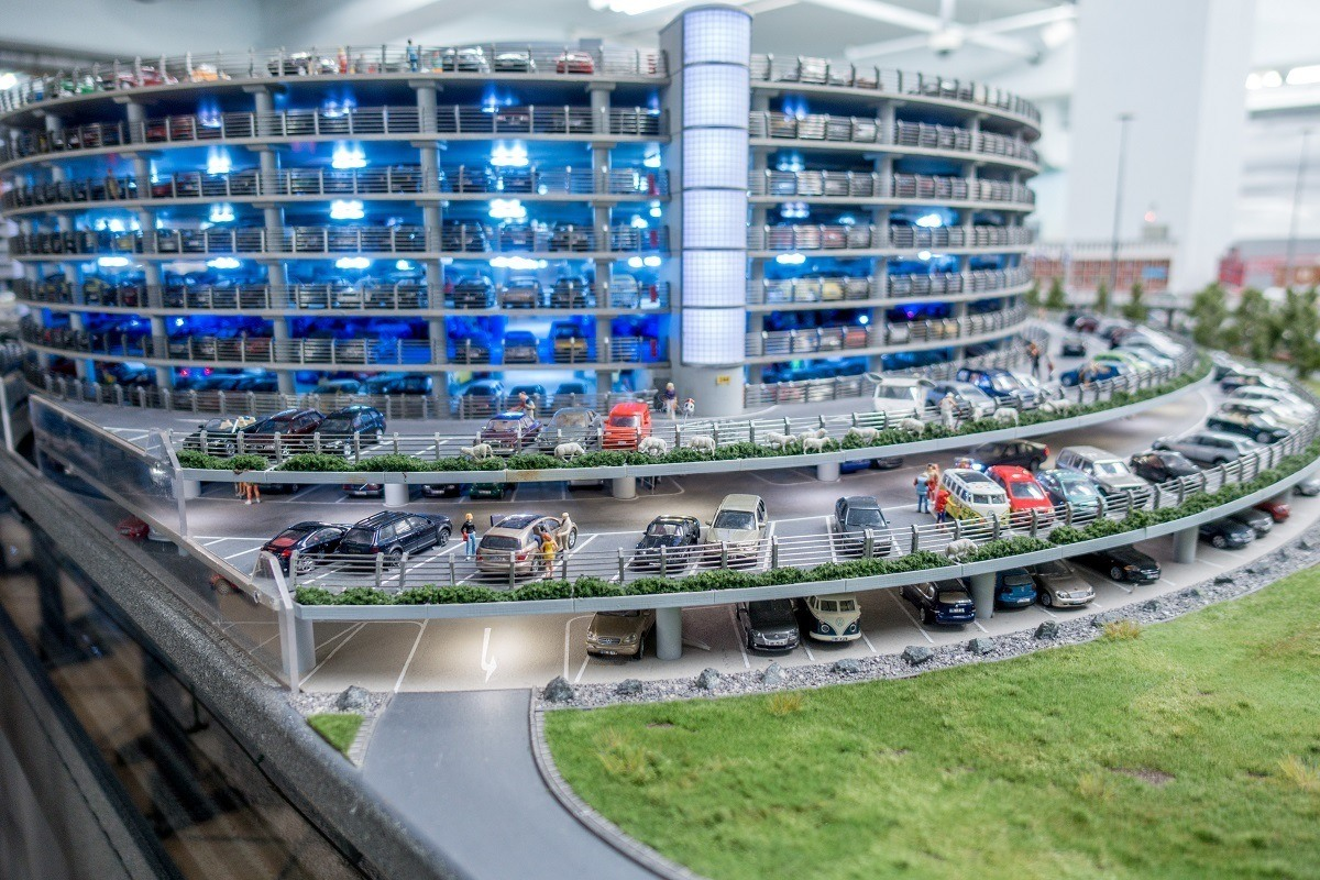 A small-scale parking garage
