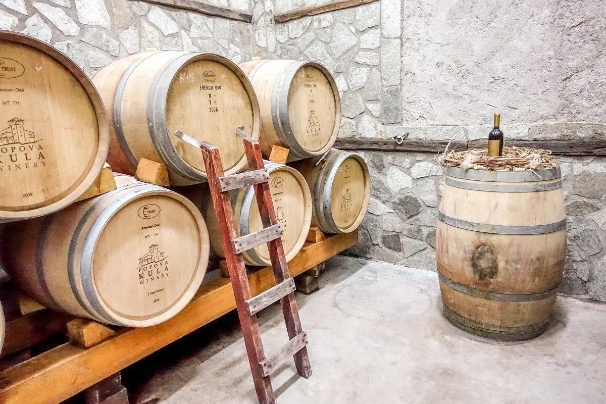Aging casks at the Popova Kula in Macedonia