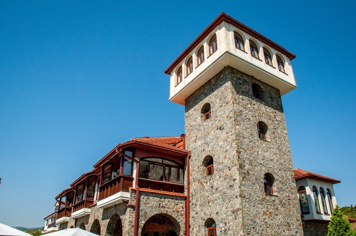 The castle tower of the Popova Kula Winery in Macedonia