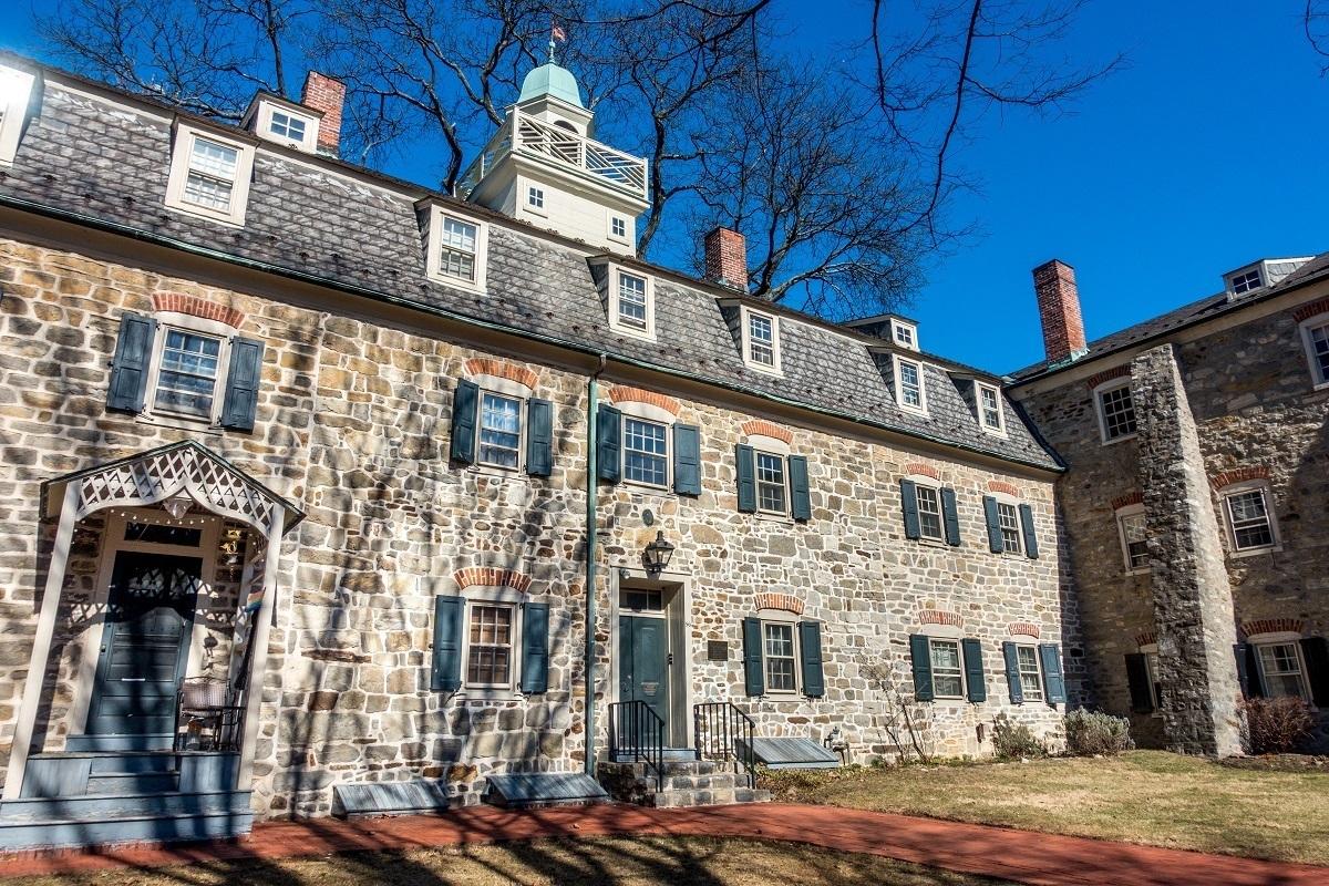 Stone building, the Single Sisters' House in historic Bethlehem, Pennsylvania