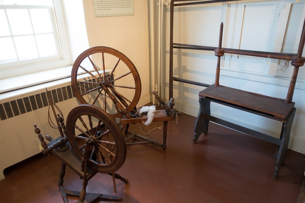 Spinning wheels in the Moravian Single Sisters' House