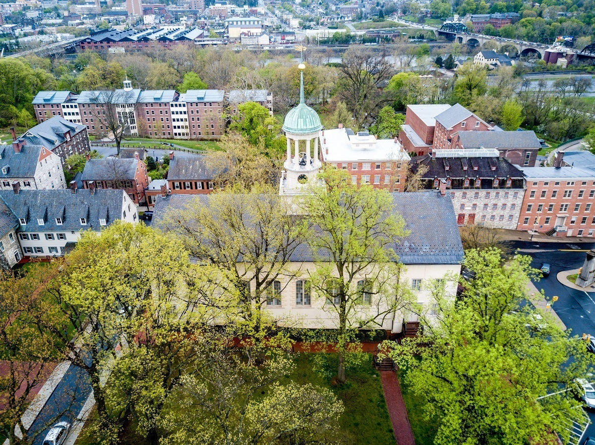 Overhead view of the Central Moravian Church in Bethlehem