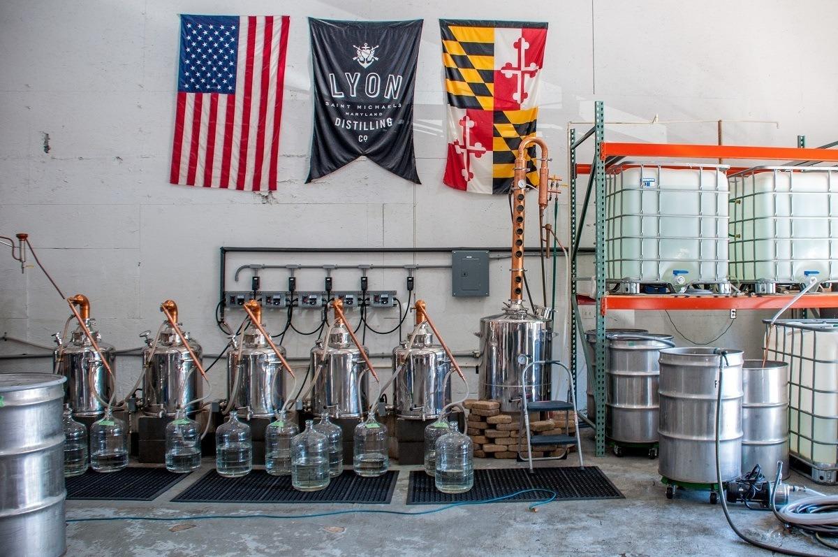 Stills and equipment at Lyon Distilling Co.