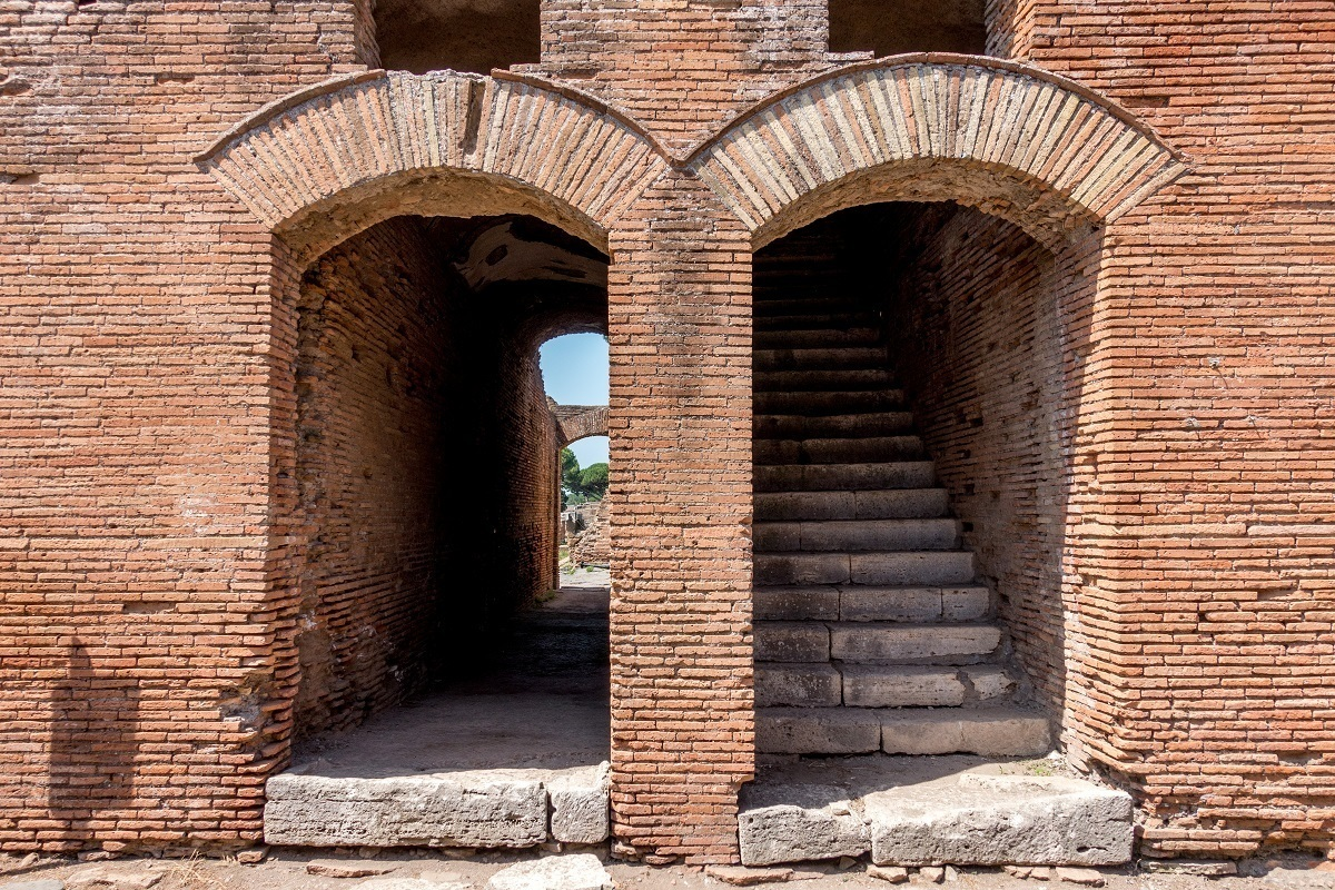 Entryways to ancient apartment buildings