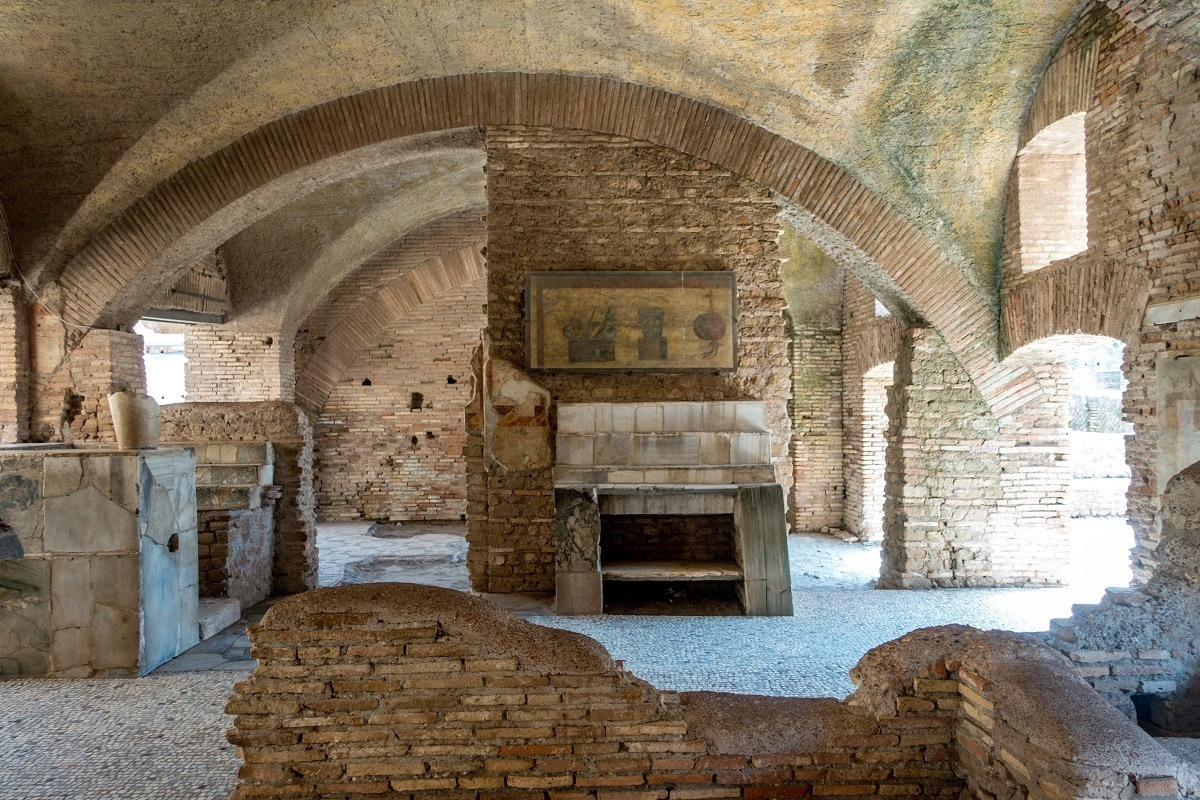 Arches and ovens are remains of the tavern at Ostia Antica, Italy