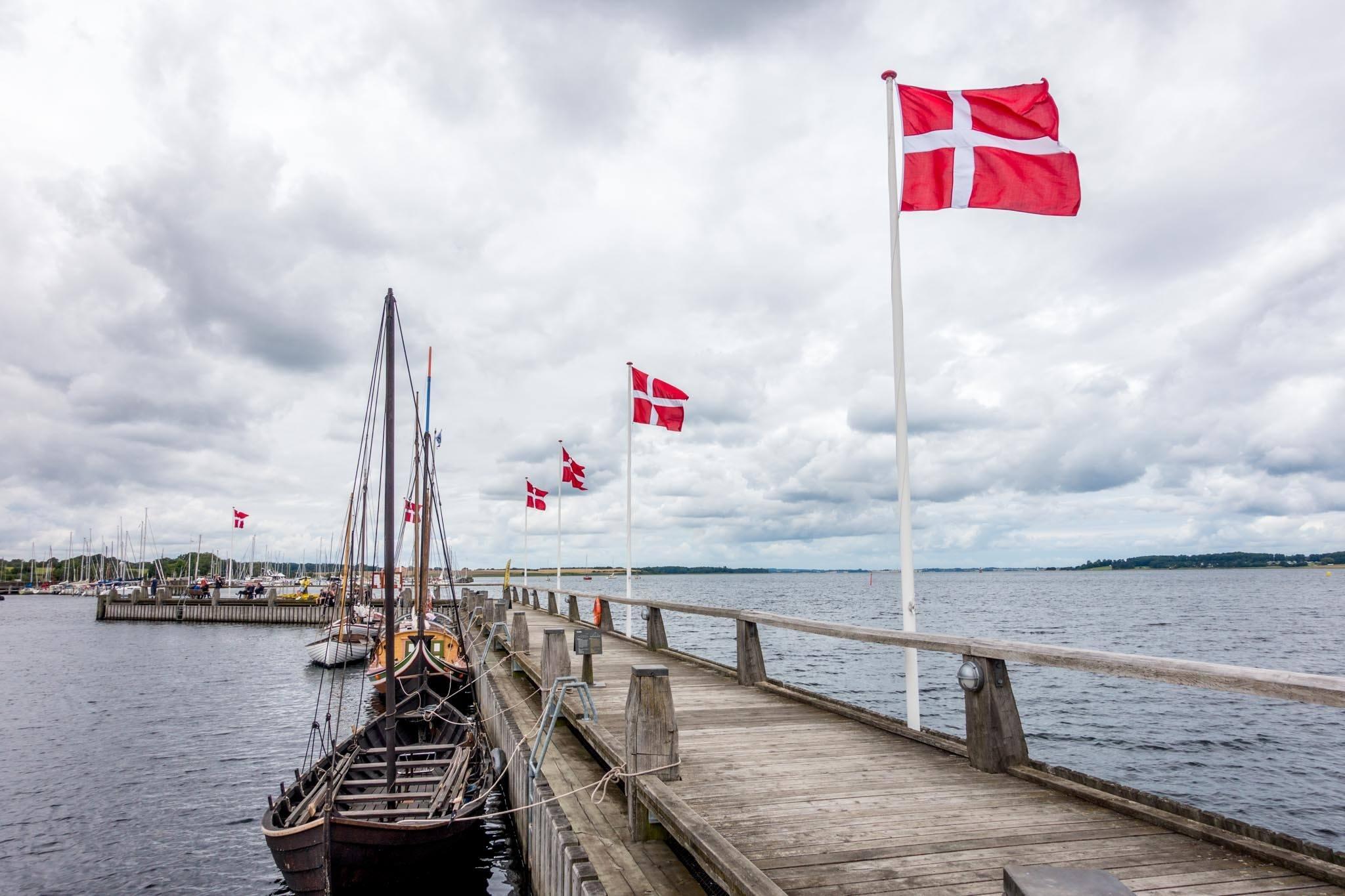 Replica ships at the Roskilde Viking Ship Museum in Denmark