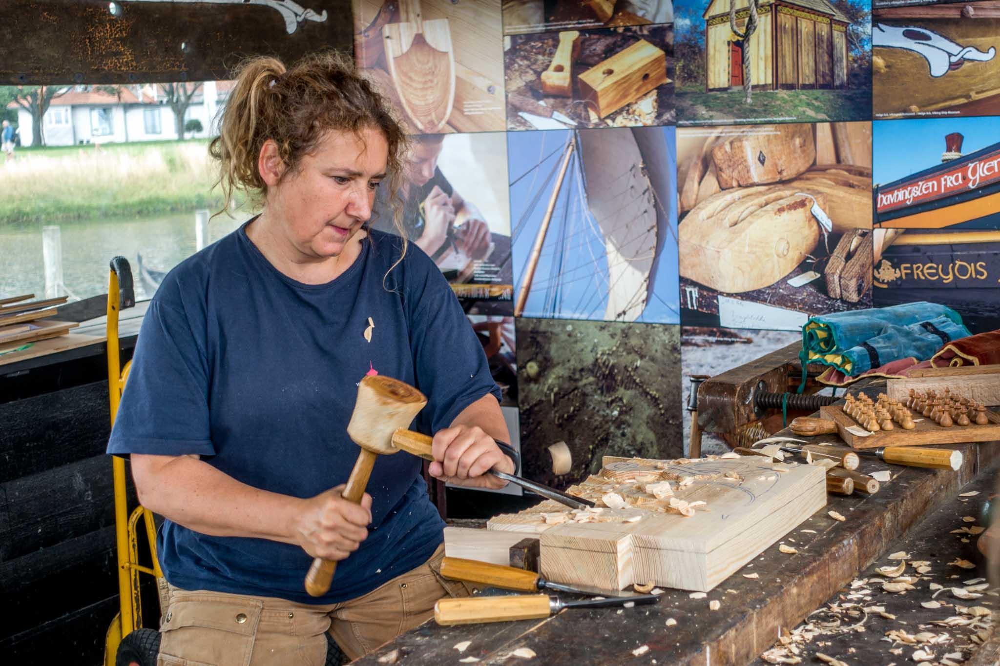 Artisan carving wood
