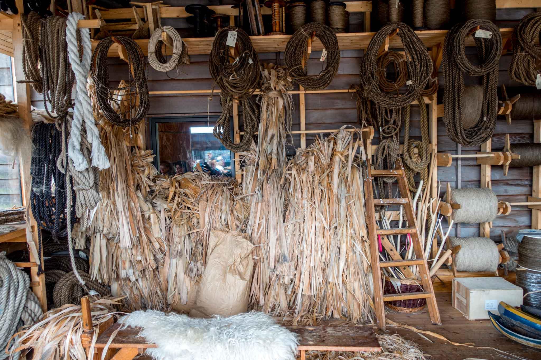 Rope-making equipment at the Roskilde Viking Museum