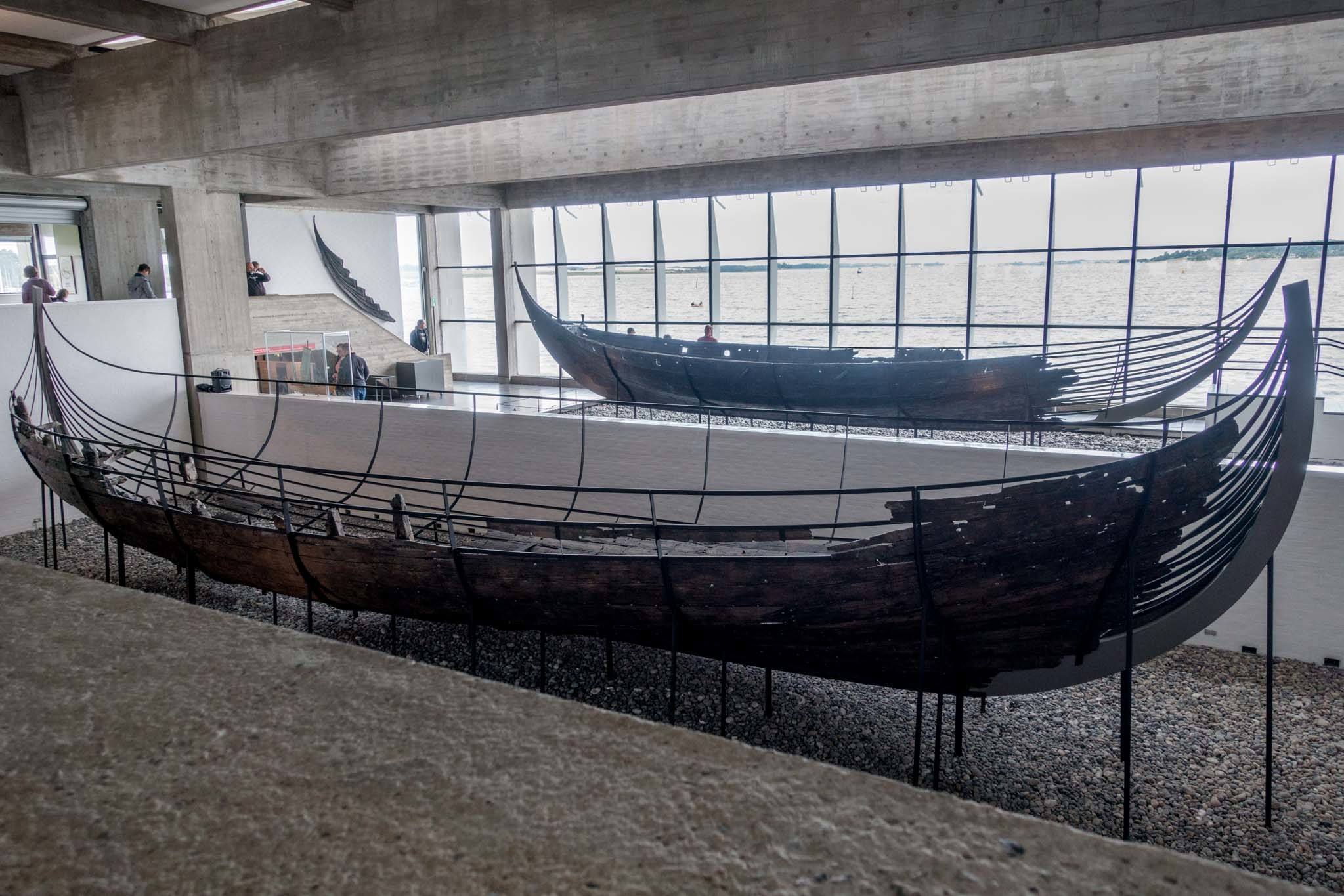Remains of two wooden Viking ships