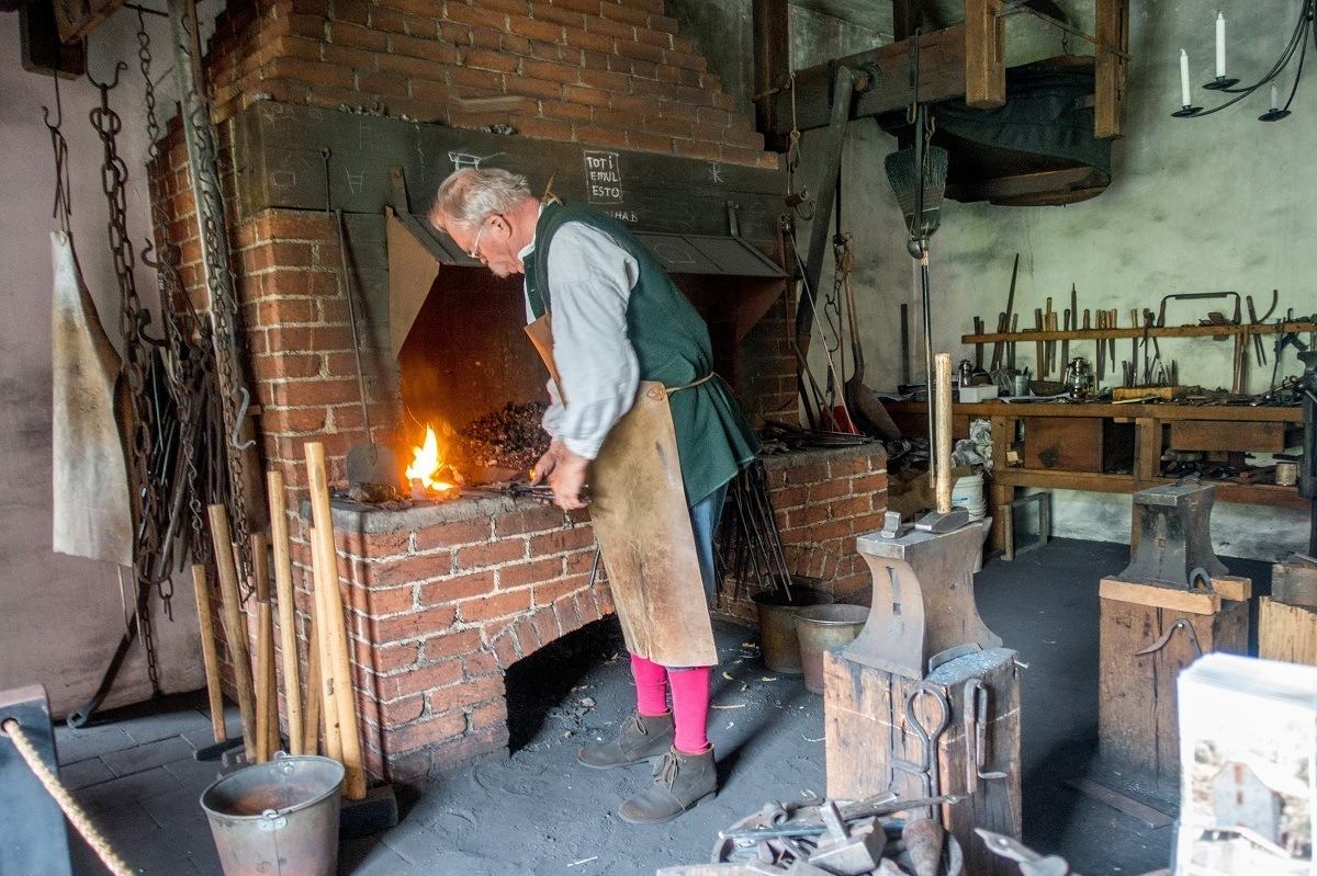 Blacksmith at the forge at the Smithy in Bethlehem PA