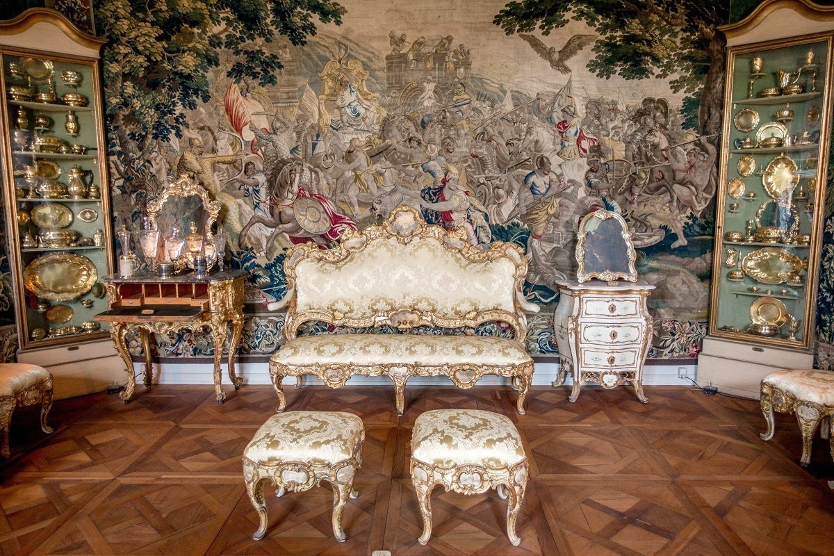 Furniture and brocade tapestry