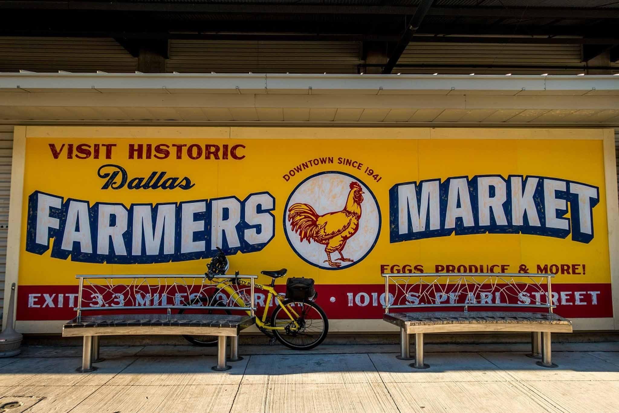 Yellow sign: Visit Historic Dallas Farmers Market