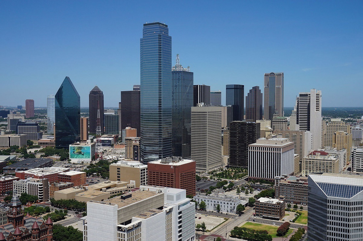 Dallas skyline with numerous buildings and skyscrapers