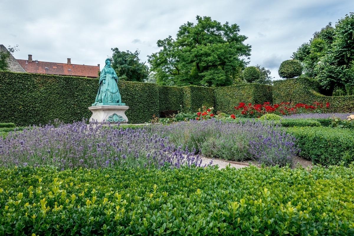 Statue of Queen Caroline in the Rosenborg Castle gardens in Copenhagen Denmark