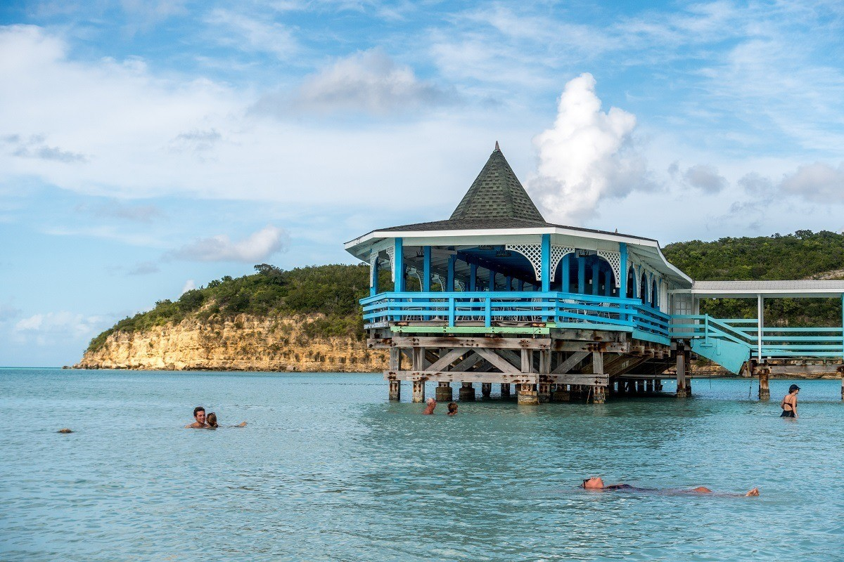 The blue pier on Dickenson Bay Beach in Antigua