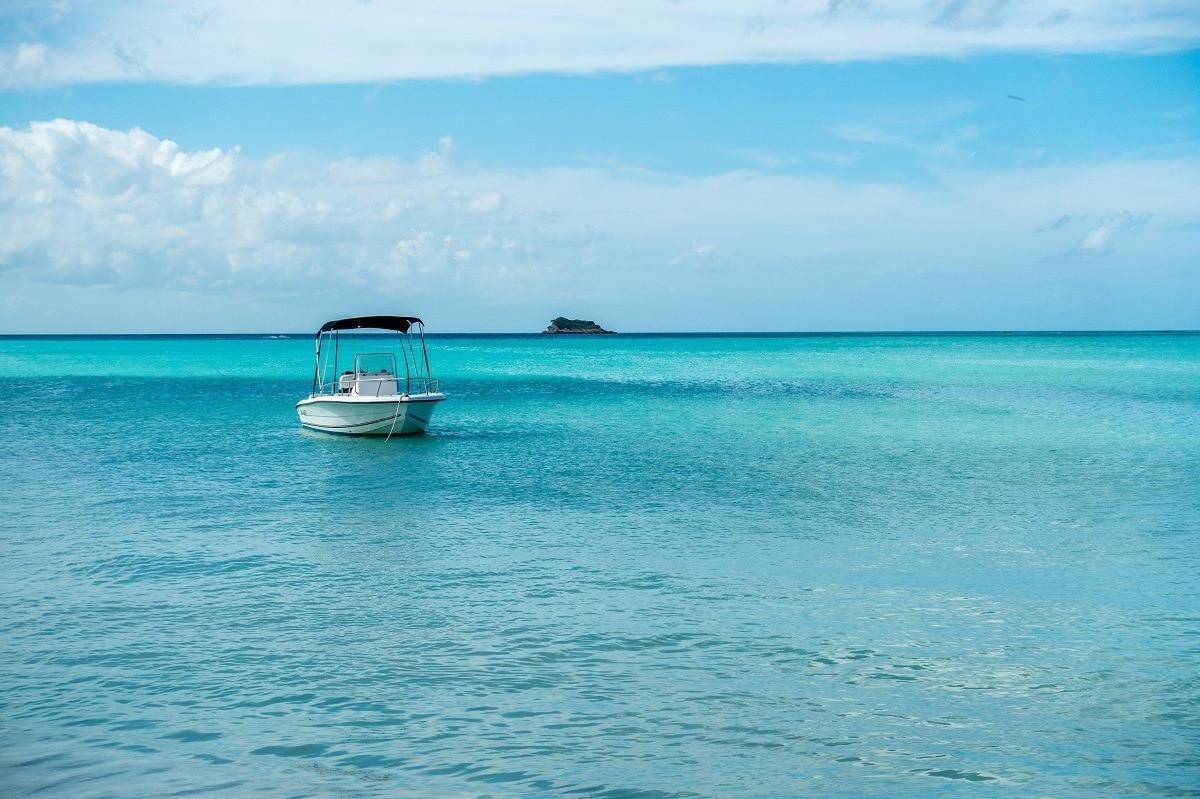 Small motorboat in Dickenson Bay Antigua