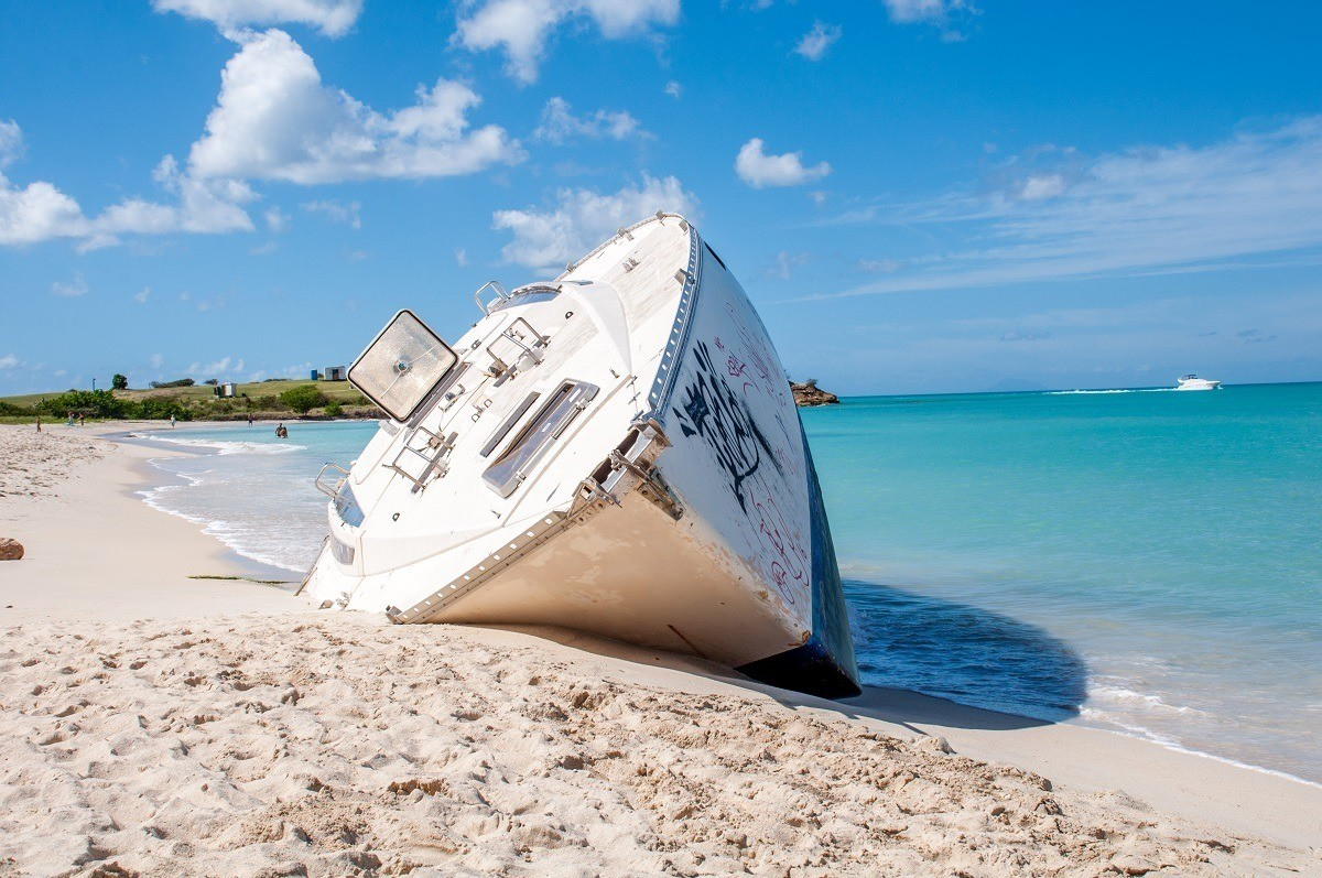Shipwreck on the beach at Dickenson Bay