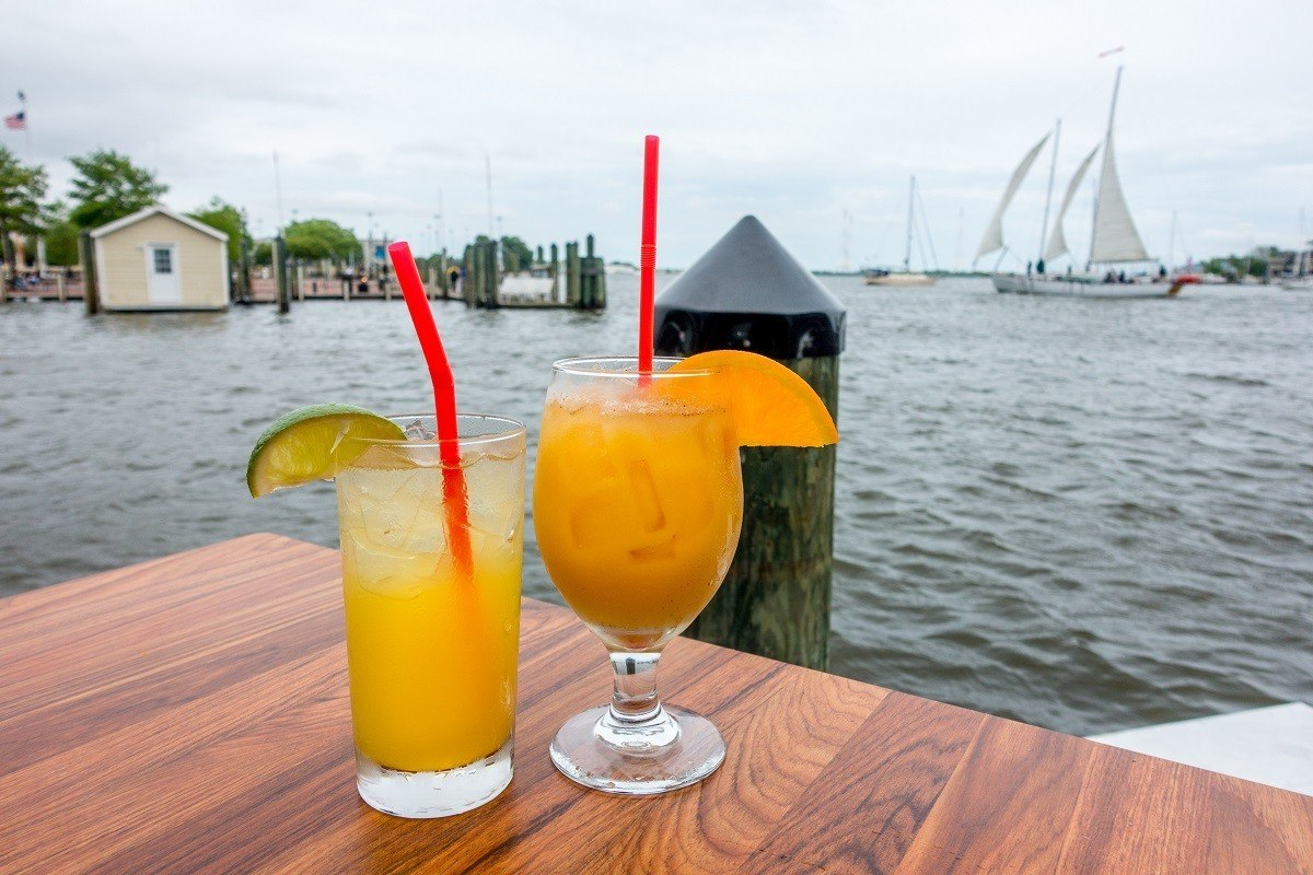 The Pusser's Painkiller - the signature cocktail - at the only waterfront restaurant in downtown Annapolis.