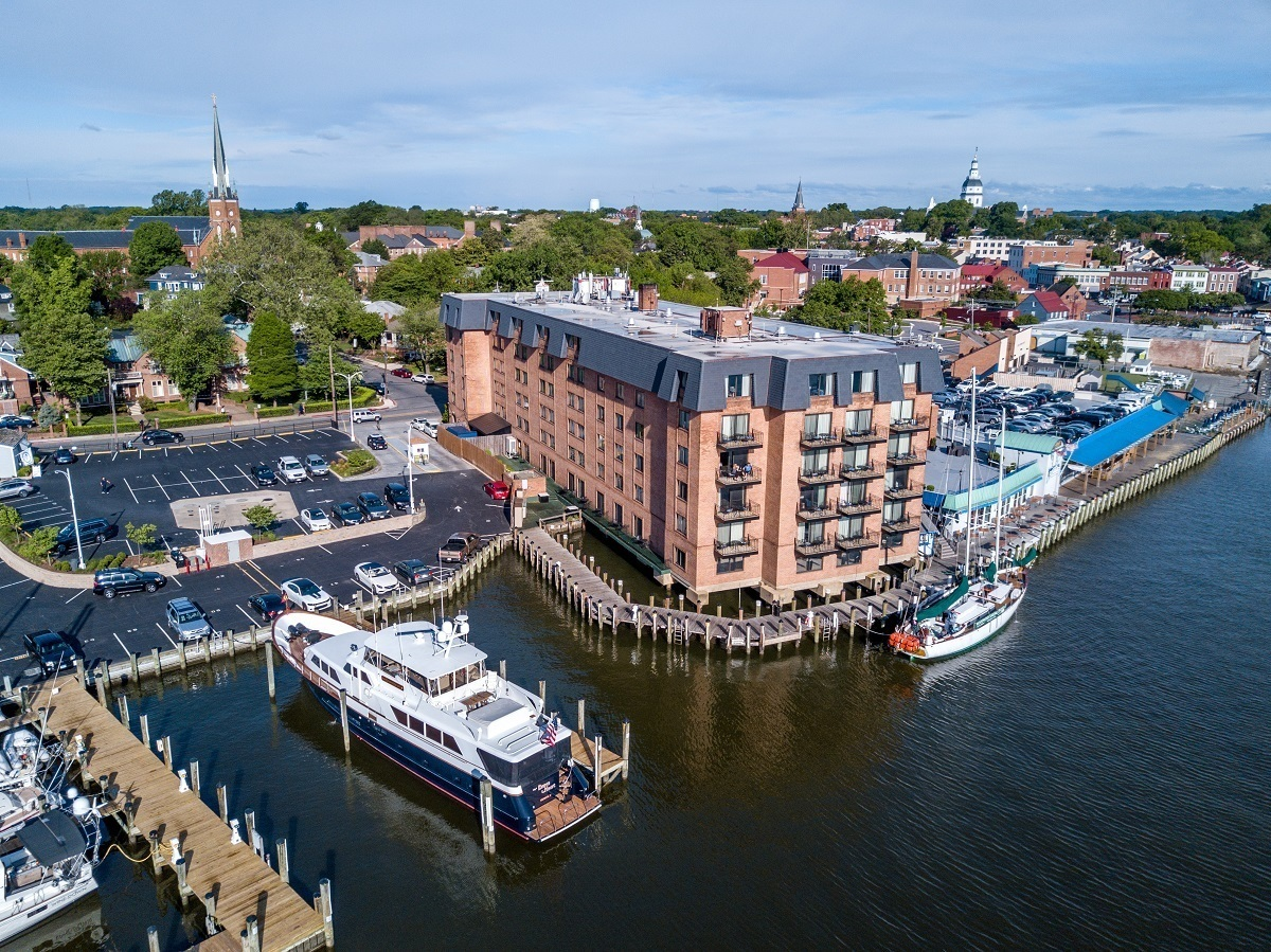 Aerial photography of the Annapolis Waterfront Hotel, the only hotel right on the water in downtown Annapolis