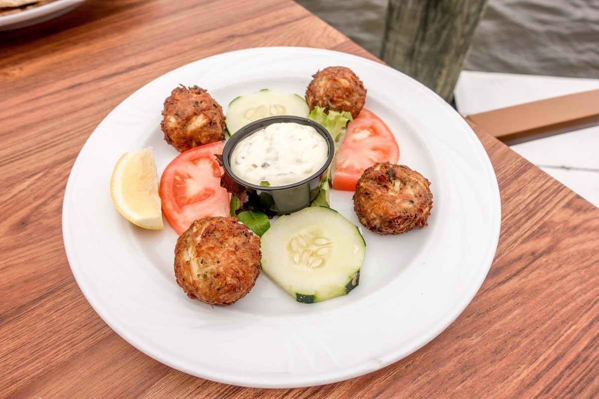 The tasty crab balls at Pusser's Caribbean Grille