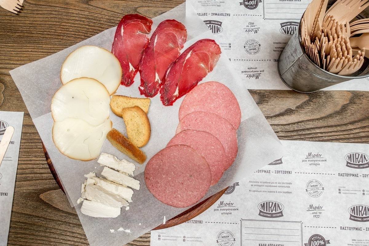 Pastrami, salami, and other charcuterie on an Athens food tour