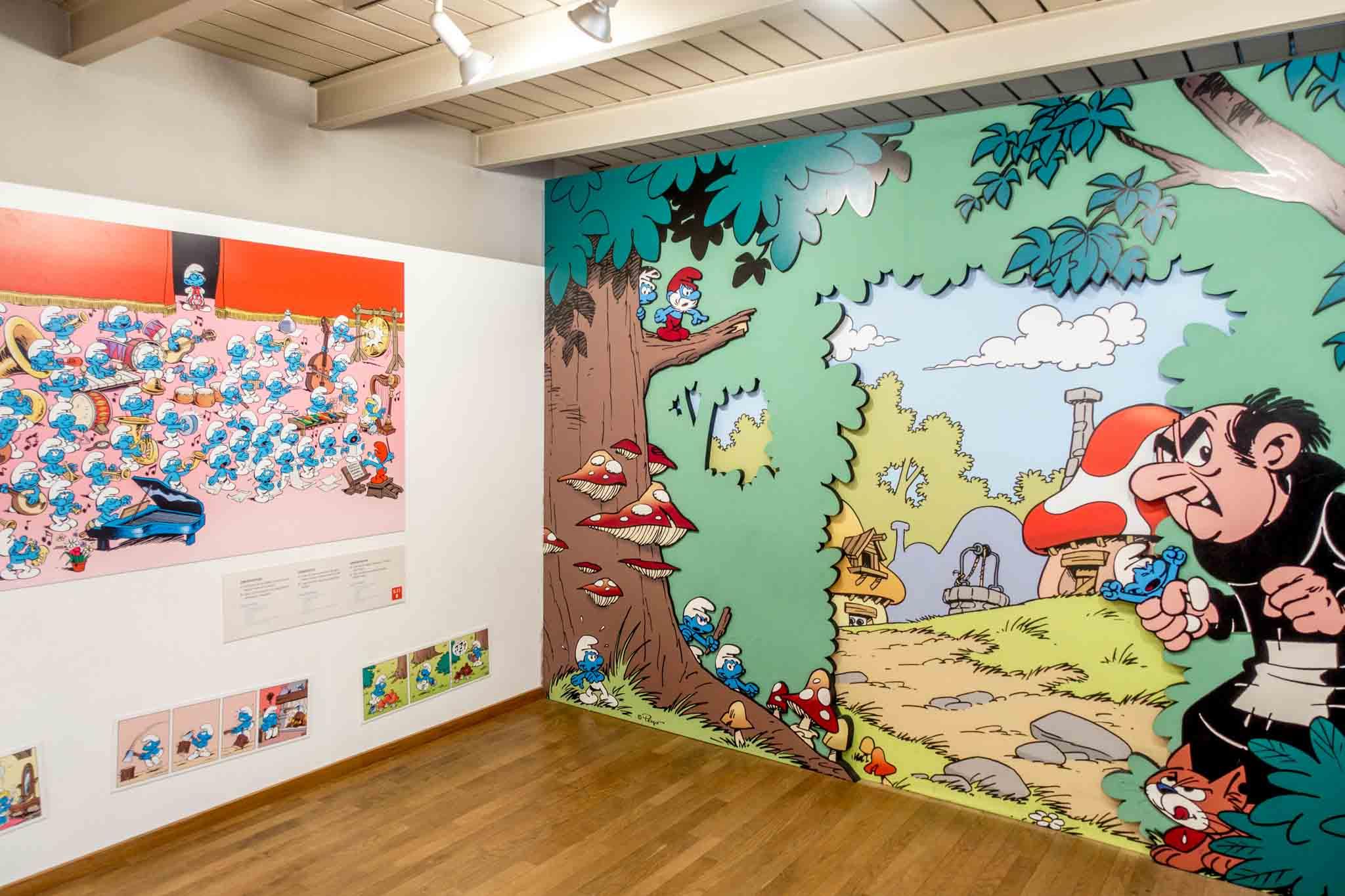 Cartoons drawings displayed in a museum