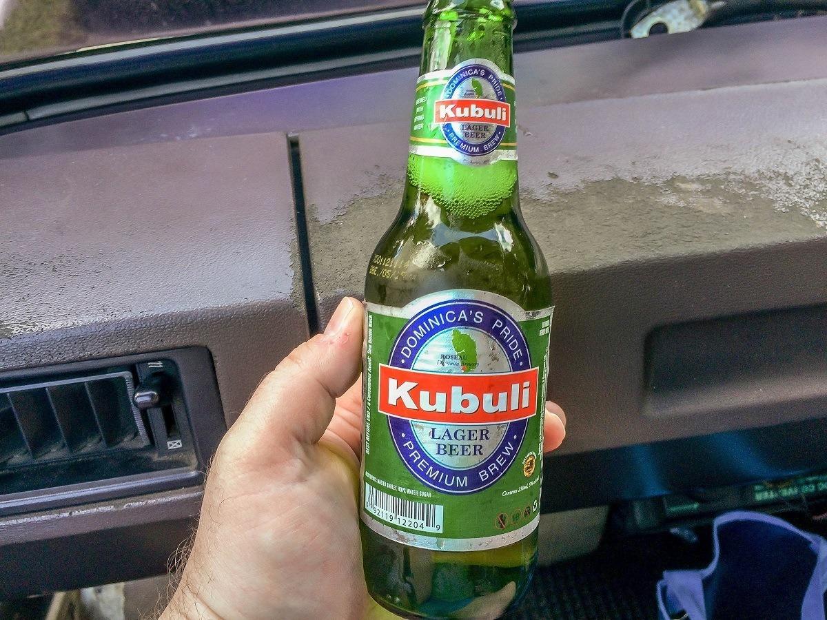 A bottle of Kubuli on a bus ride