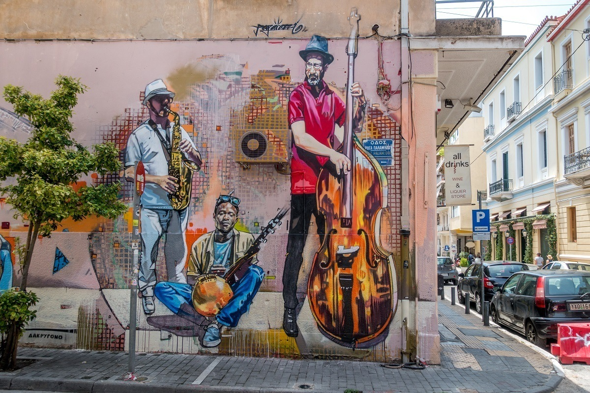 Street art mural of musicians in Athens