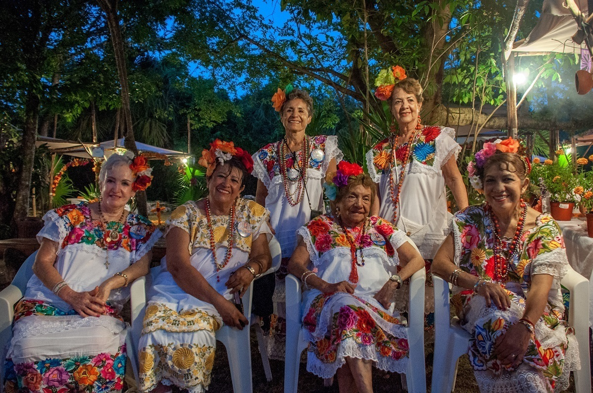 Women in traditional Mexican dresses