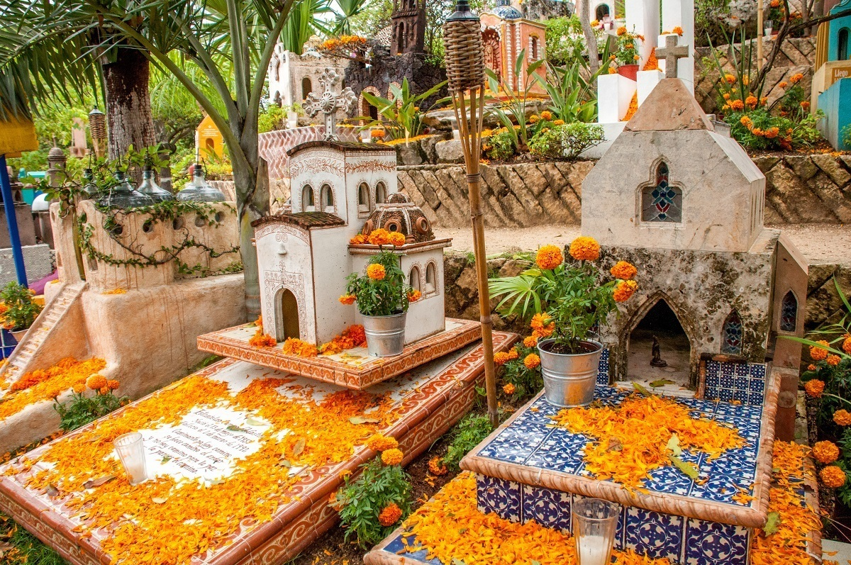 Cemetery decorated with marigolds for Day of the Dead
