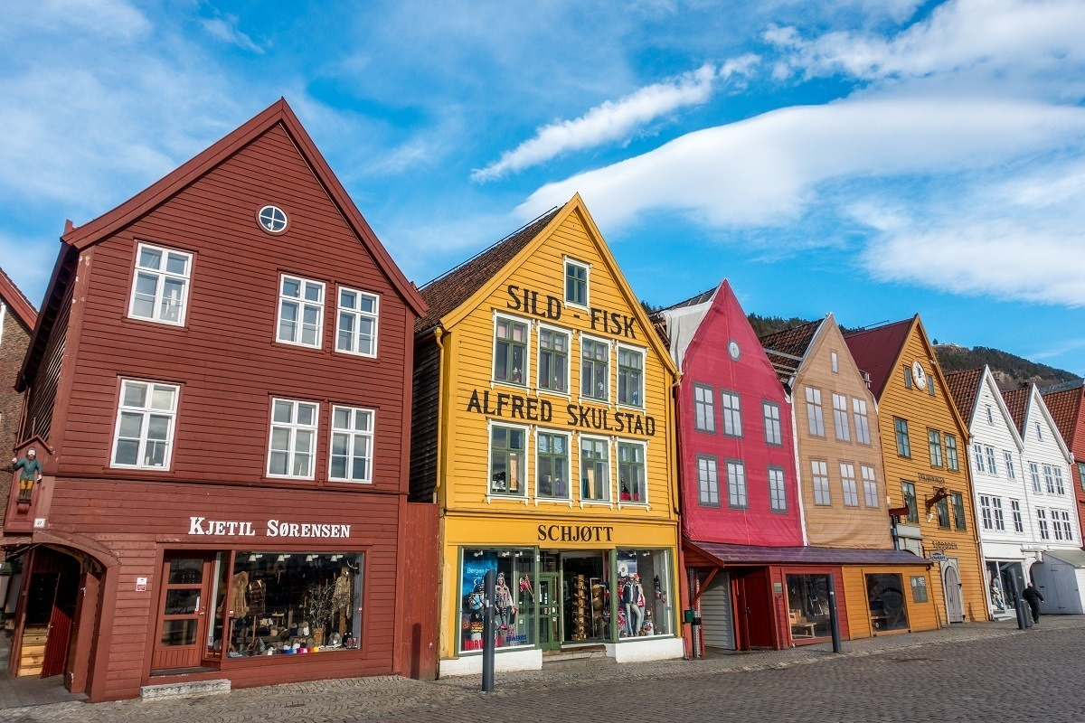 Row of colorful historic merchant houses