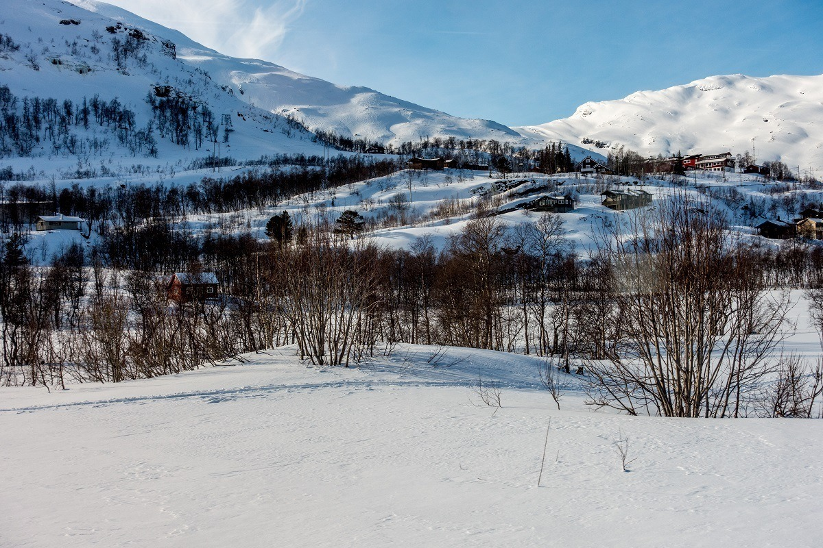 Snowy, hilly Norwegian countryside