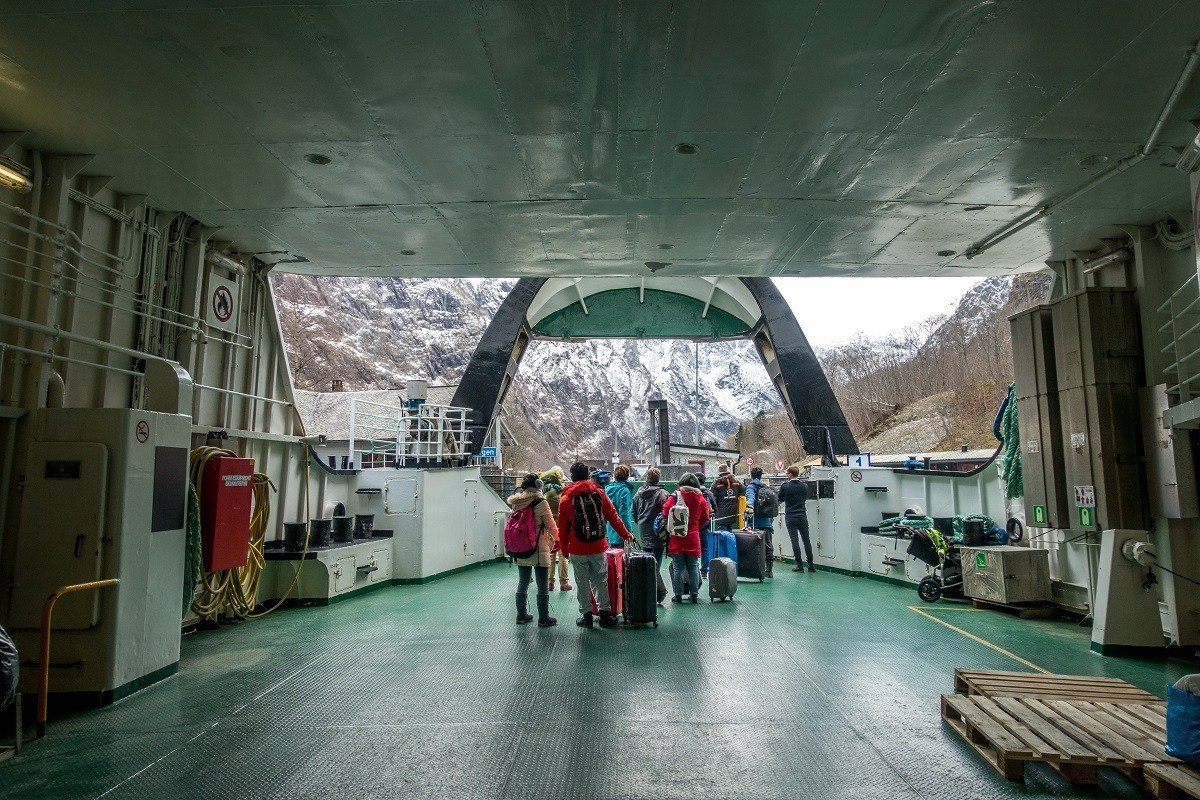 People disembarking a ferry